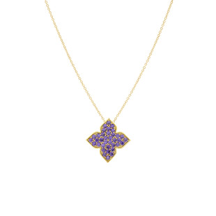 Hybrid Tea Rose Bud Pave Silver Zirconia Necklace Amethyst