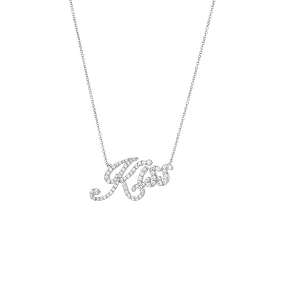 Groovy Font Kiss Silver Zirconia Necklace