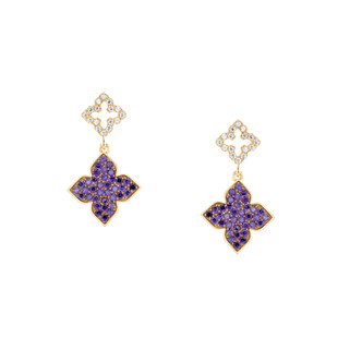 Hybrid Tea Rose Bud Pave Dangle Silver Zirconia Earrings  White and Amethyst