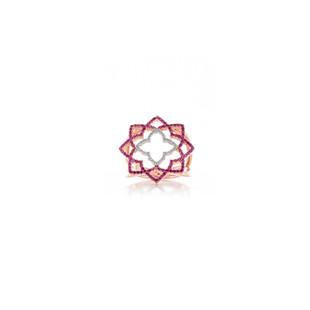 Hybrid Tea Rose Curvy Silver Zirconia Ring