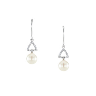 Graceful Triangle Pave Silver Freshwater Pearl Zirconia Dangle Linear Earrings