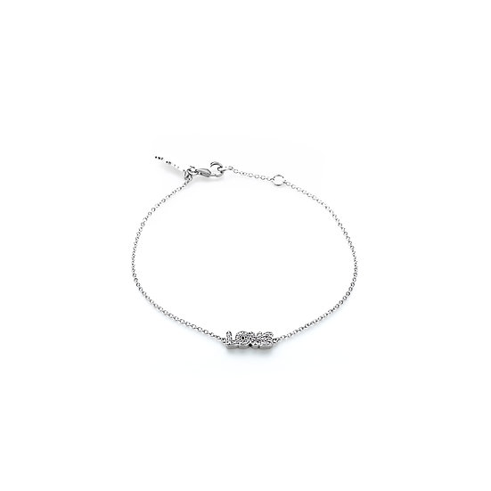 Comical Font Love Silver Zirconia Bracelet