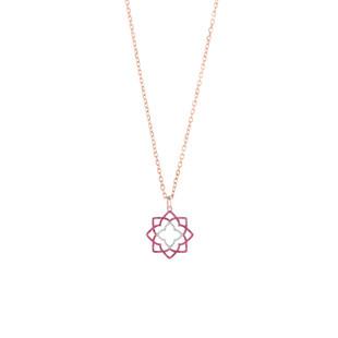 Hybrid Tea Rose Curvy Silver Zirconia Necklace