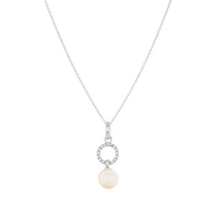 Graceful Round Pave Silver Freshwater Pearl Zirconia Dangle Necklace