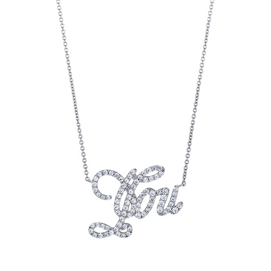 Groovy Font You Silver Zirconia Necklace