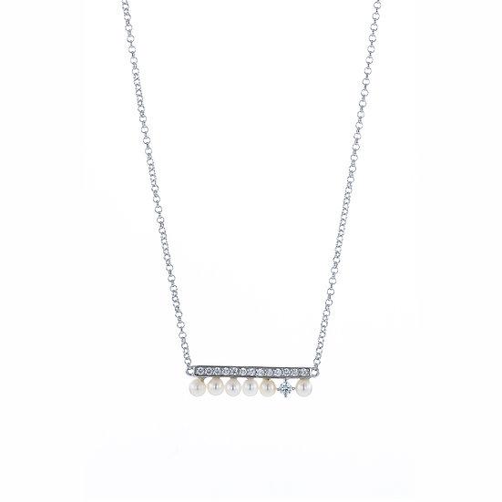 Delicate Mini Harmonica Silver Freshwater Pearl Zirconia Necklace