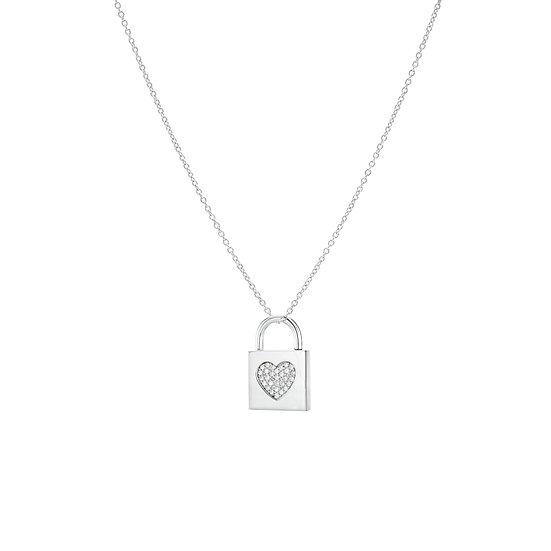 Treasure Locked Heart Silver Zirconia Necklace