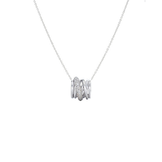 Classy Circling Silver Zirconia Necklace