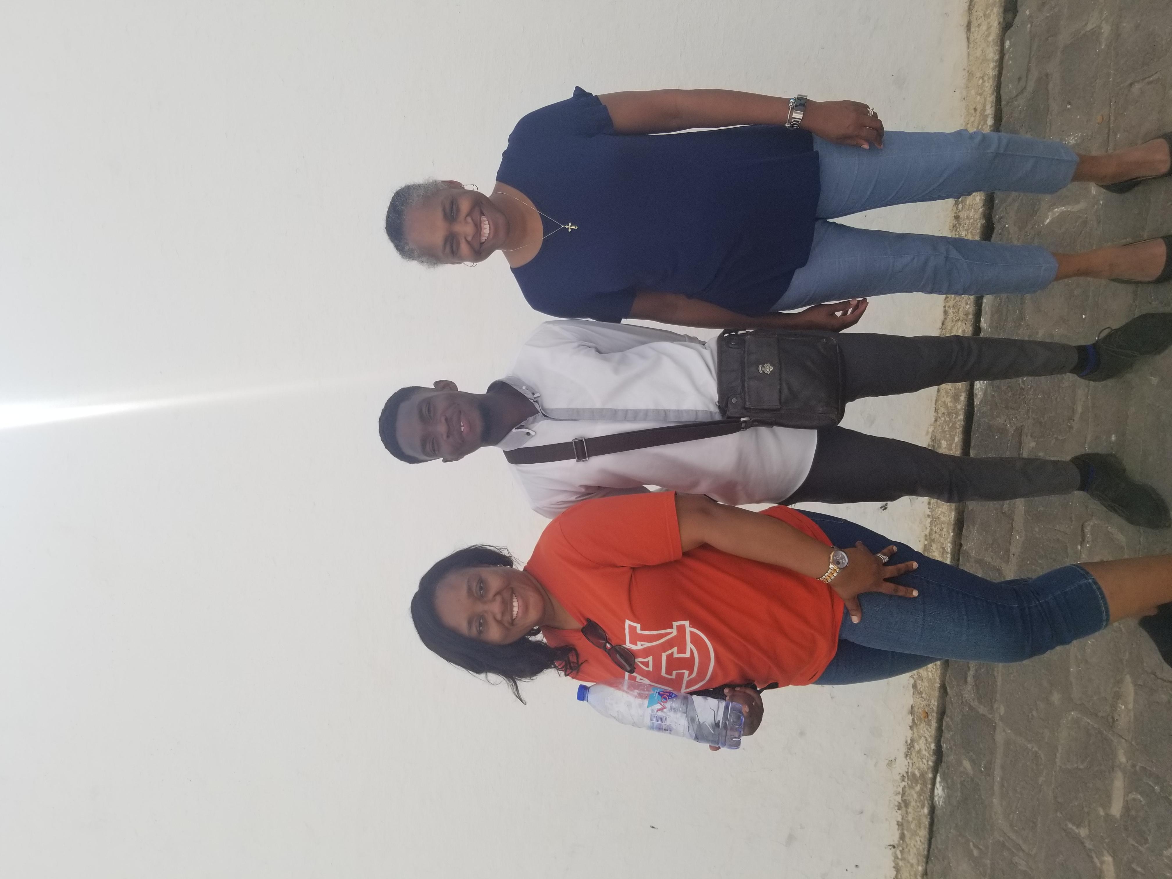 Drs. Quansah and Thomas meeting with Thomas Benson