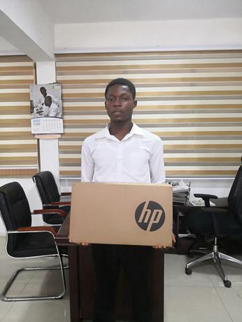 Philip Nii Nortey receives a new laptop!