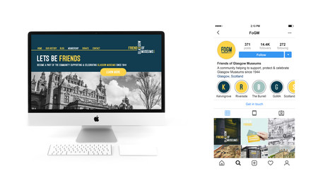 FOGM mock up of landing page for website and social media page.