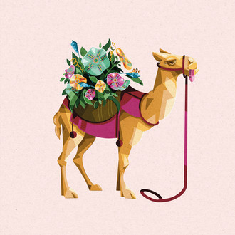 Mr Camel bringing Flowers