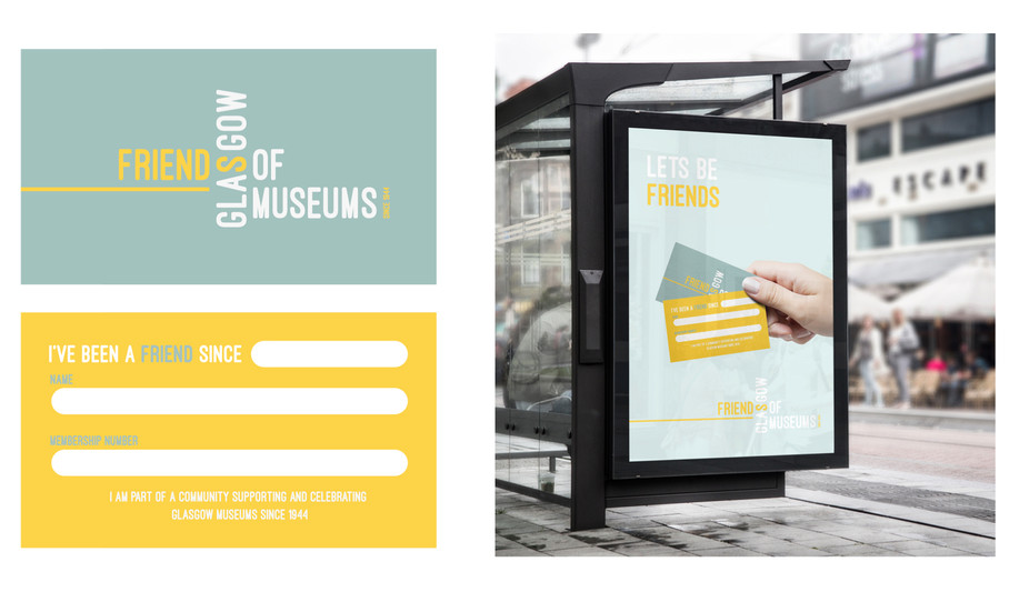 FOGM mock up of membership card and bus promo advert utilising the 'lets be friends' language