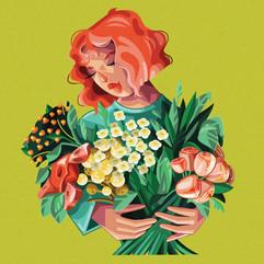 floral girl illustration
