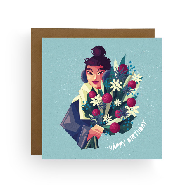 Birthday Winter Floral Card