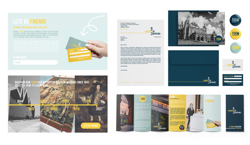 FOGM mock ups, including website concepts and stationery use.