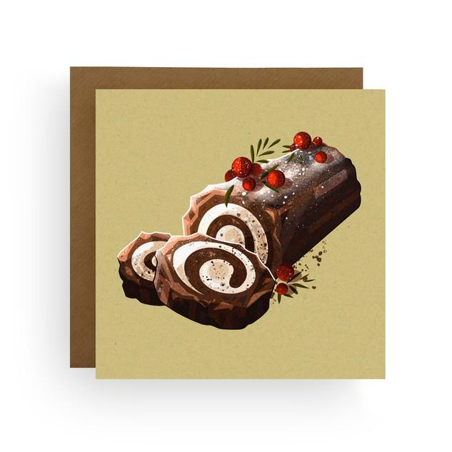 Yule Log Christmas Card