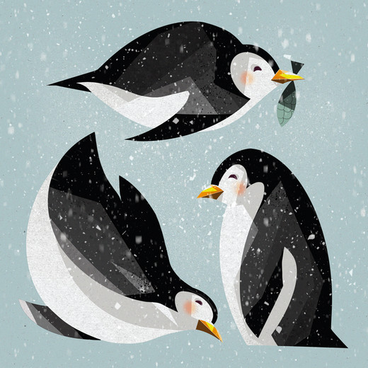 Snowy Penguins Illustration