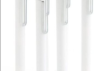 Poppin Retractable Gel Luxe Pens, White, Package Of 6, Black Ink