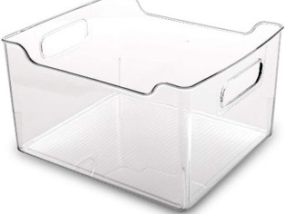 BINO Clear Plastic Storage Bin with Handles