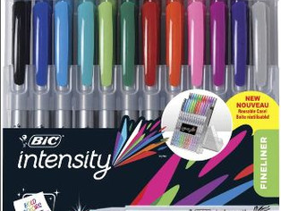 BIC Intensity Fineliner Marker Pen Easel Pack, Assorted Colors, 24-Count,