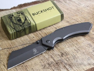 Buckshot Thumb Open Spring Assisted Stainless Steel Handle With Inlay Classic Razor Pocket Knife (Gr