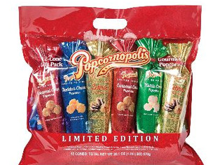 Popcornopolis Popcorn 12 Cone Snack Pack Including Zebra, Cheddar Cheese, Caramel and Kettle Corn, M