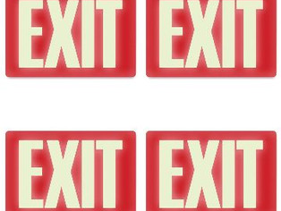 Headline Sign, Glow-in-The-Dark Exit Sign, 8 Inches by 12 Inches, 4 Packs