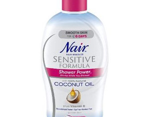 Nair Hair Remover Sensitive Formula Shower Power with Coconut Oil and Vitamin E, 12.6oz