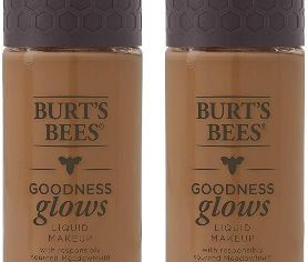 Burts Bees Goodness Glows Liquid Makeup, Chestnut - 1.0 Ounce (Pack of 2)