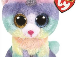 TTy Beanie Baby Soft Toy Multicoloured, Heather The Unicorn Cat