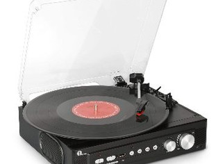 1byone Belt Drive 3 Speed Mini Stereo Turntable with Built in Speakers,