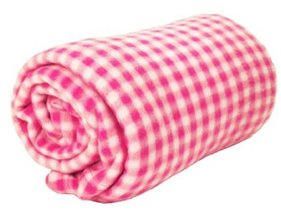World's Best Cozy-Soft Microfleece Travel Blanket, 50 x 60 Inch, Gingham Pink