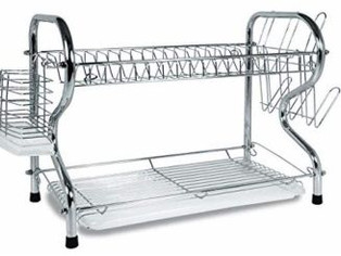 Better Chef 16-Inch, Chrome Plated, R-Shaped, Rust-Resistant, 2-Tier Dishrack