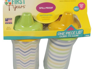 2 Piece Insulated Hard Spout Cup, White/Green/Blue/Orange/Yellow