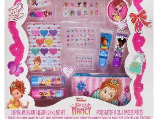 Fancy Nancy Beauty Kit, Kids Washable, Lip balms, glosses, press on nails, gems,