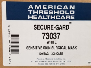 100 PK Tie On Surgical Face Mask Fluid Resistant - 3 ply - white MADE IN USA