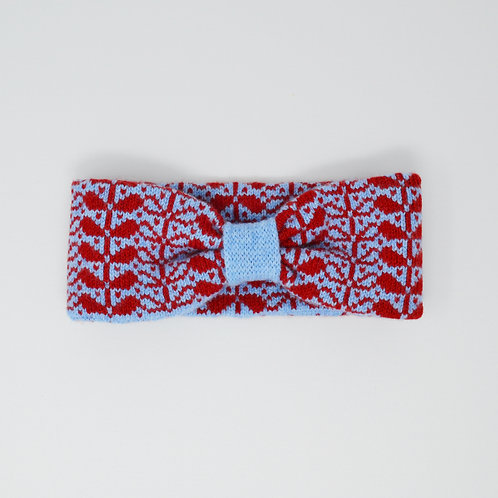 Red, Blue headband with flora pattern