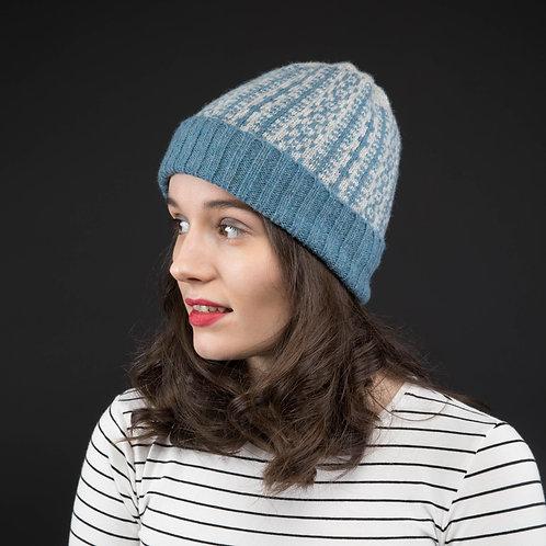 Blue grey hat with geometric pattern