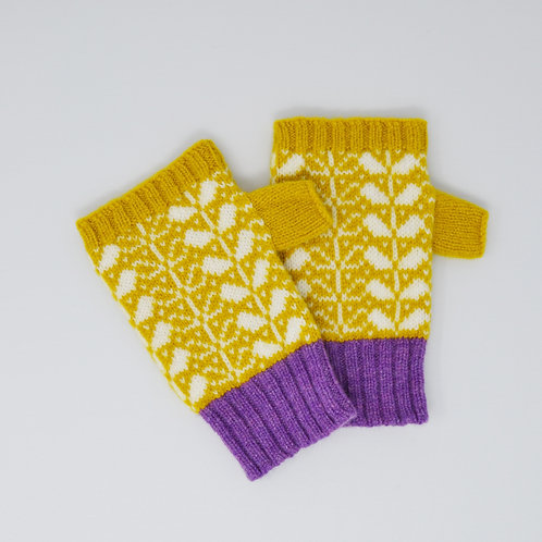 Yellow/white/ violet Extra soft Lambswool fingerless gloves with flora pattern