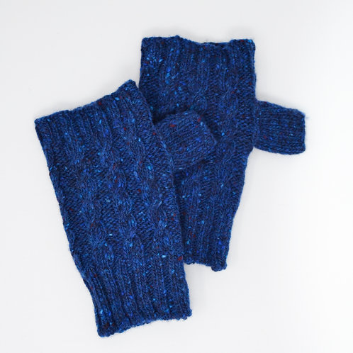 Dark Blue Donegal Lambswool fingerless gloves with cable knit pattern