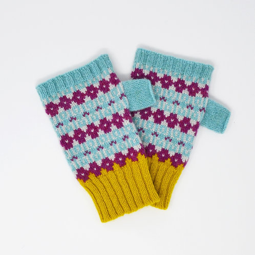 """copy of """" Heritage"""" Mint blue, loganberry fingerless gloves"""