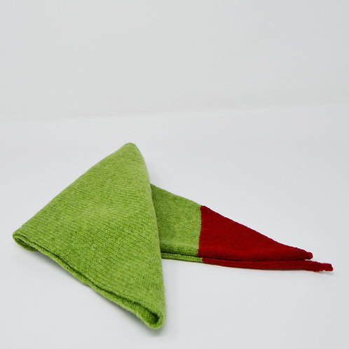 Extra soft Apple green  triangle scarf with Red corners