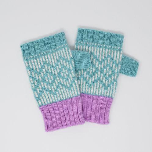 """ Dundee graphics"" Mint blue, pink fingerless gloves"