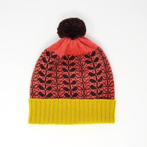 """Leaf pattern""dark coral Pom Pom hat"