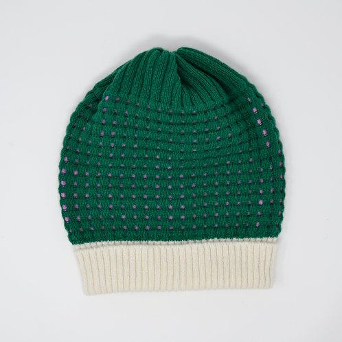 Textured forest green, pink hat with white rib