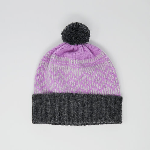 """""""Dundee Graphics"""" pink hat with grey pom pom"""