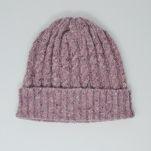 Pink Donegal Cable knit beanie hat