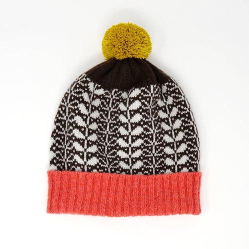 """Leaf pattern""brown Pom Pom hat"