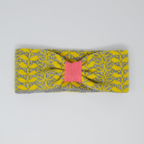Sunshine yellow, grey, coral headband with flora pattern